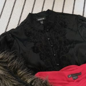 Bebe Silky Black Blouse